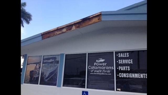 Blew facia board off building