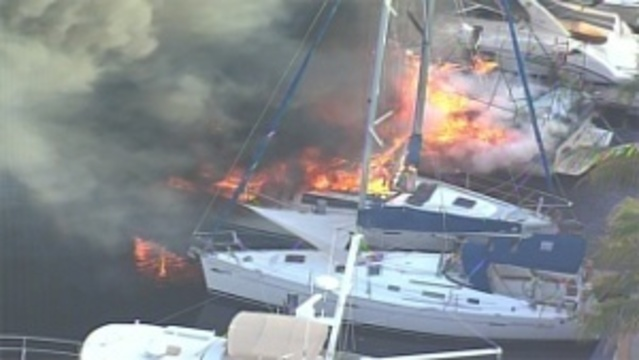Boats on fire near Fort Lauderdale