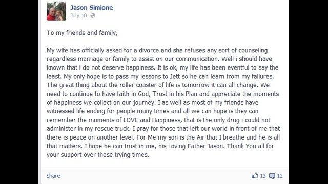 Jason Simione Facebook post