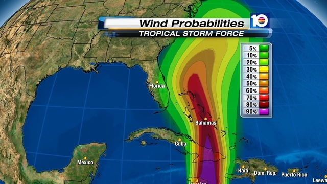 TS Force Wind Probabilities_issued 5 pm Oct 24
