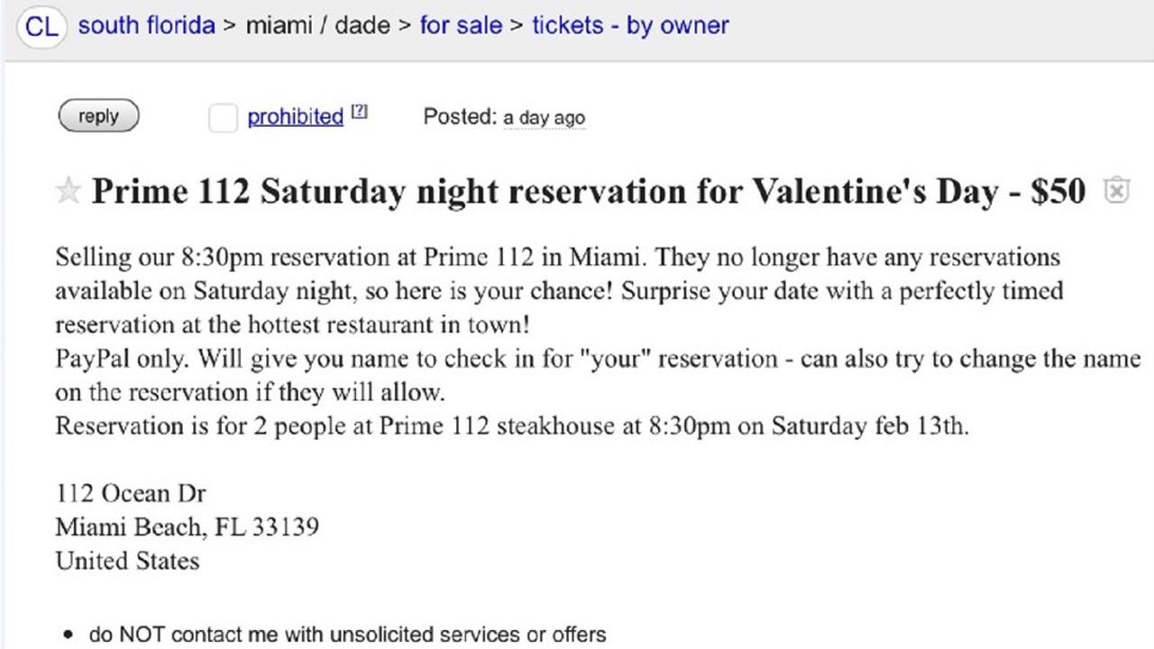 craigslist ad posted for prime 112 valentine 39 s day weekend. Black Bedroom Furniture Sets. Home Design Ideas
