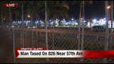 Man with knife in mouth stunned after jumping on vehicle on Palmetto Expressway