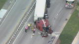 Tractor-trailer accident ties up traffic in Pompano Beach