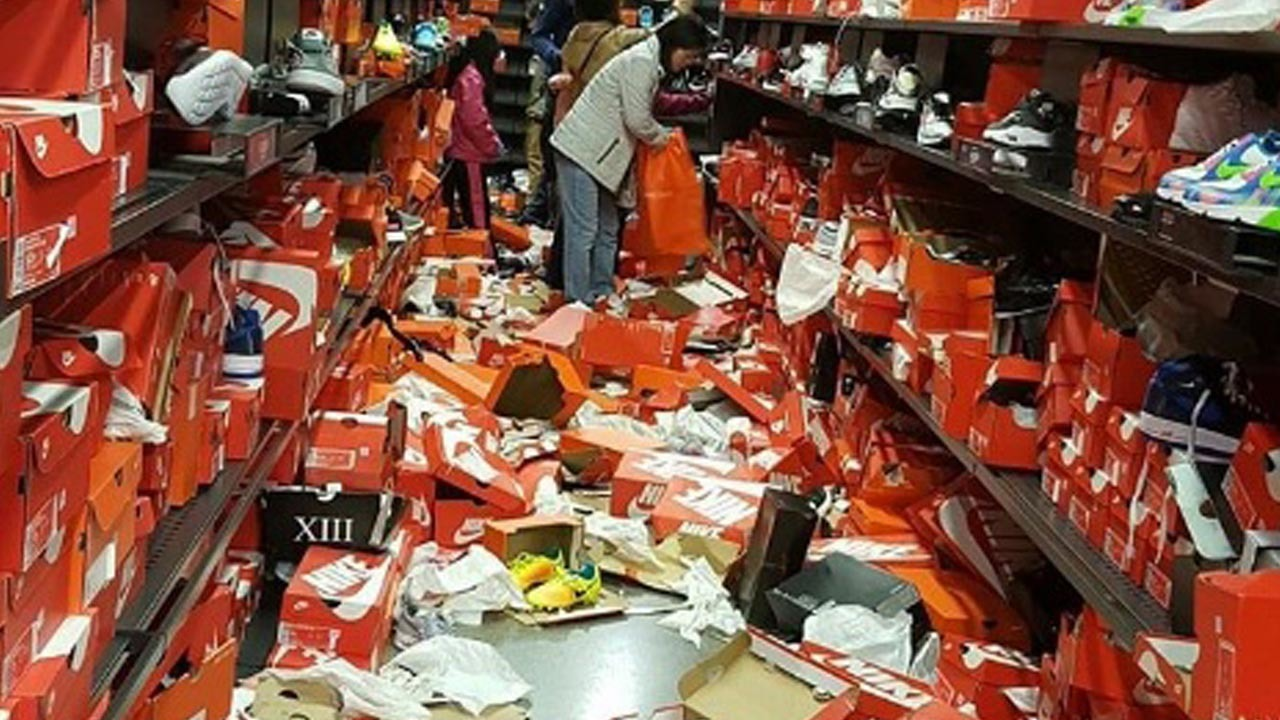 Black Friday shoppers leave Nike store in ruins