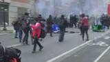 Smashed windows, chaotic confrontation near inauguration