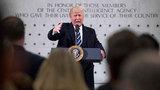 President Donald Trump praises CIA, bristles over inaugural crowd counts