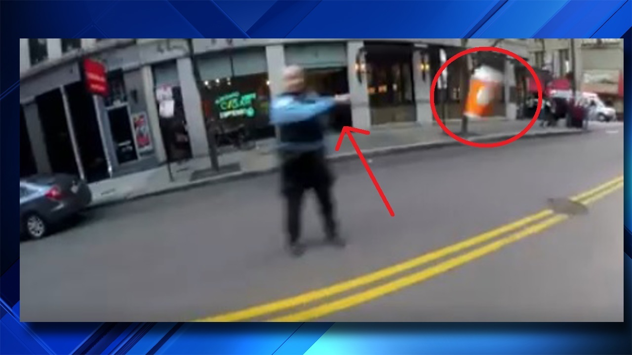 Video Shows Police Officer Throwing Coffee At Biker