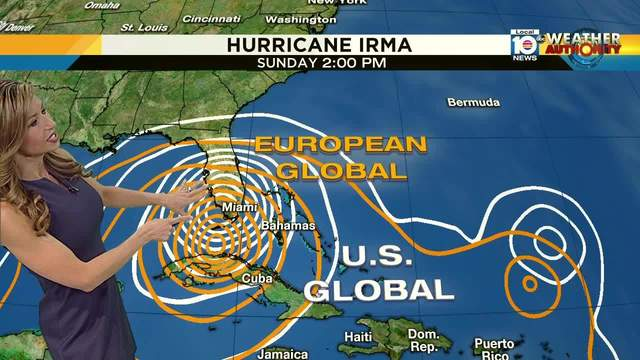 Hurricane Irma US and European computer models Sunday 2 p.m. as of Sept 5
