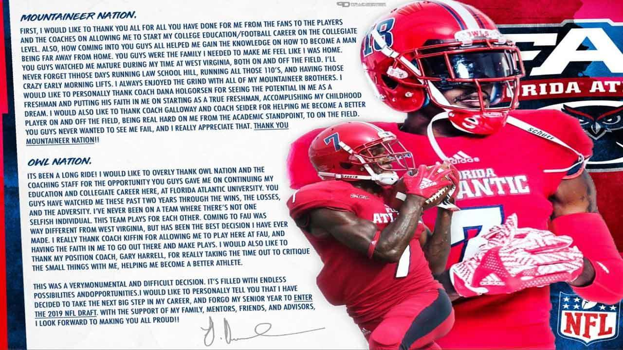 FAU receiver Jovon Durante says he's leaving early to enter NFL draft