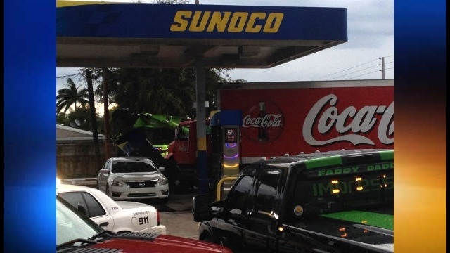 Coca-Cola truck crashes into pump