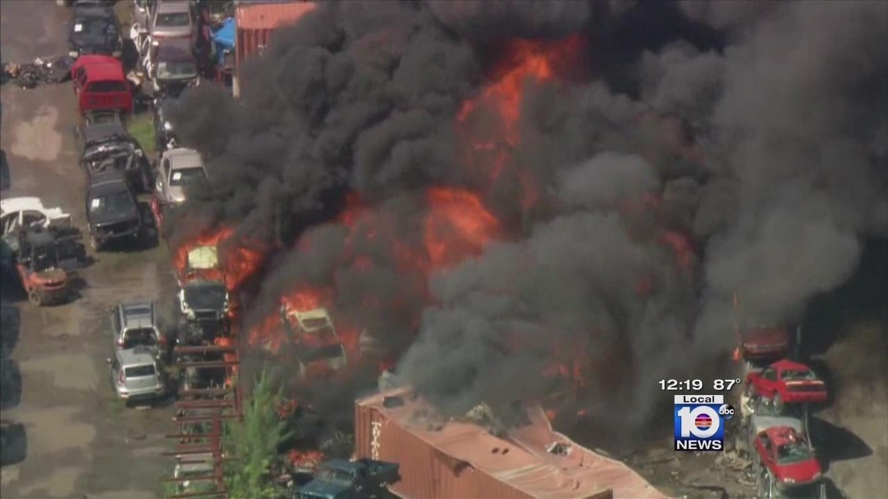 Opa Locka Junkyard >> More than 100 vehicles scorched in Opa-locka junkyard fire
