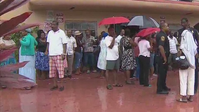 People outside due to roof collapse