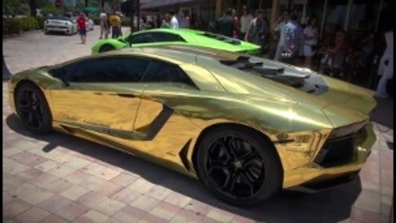 Gold Plated Lamborghini Roaring Around S Fla