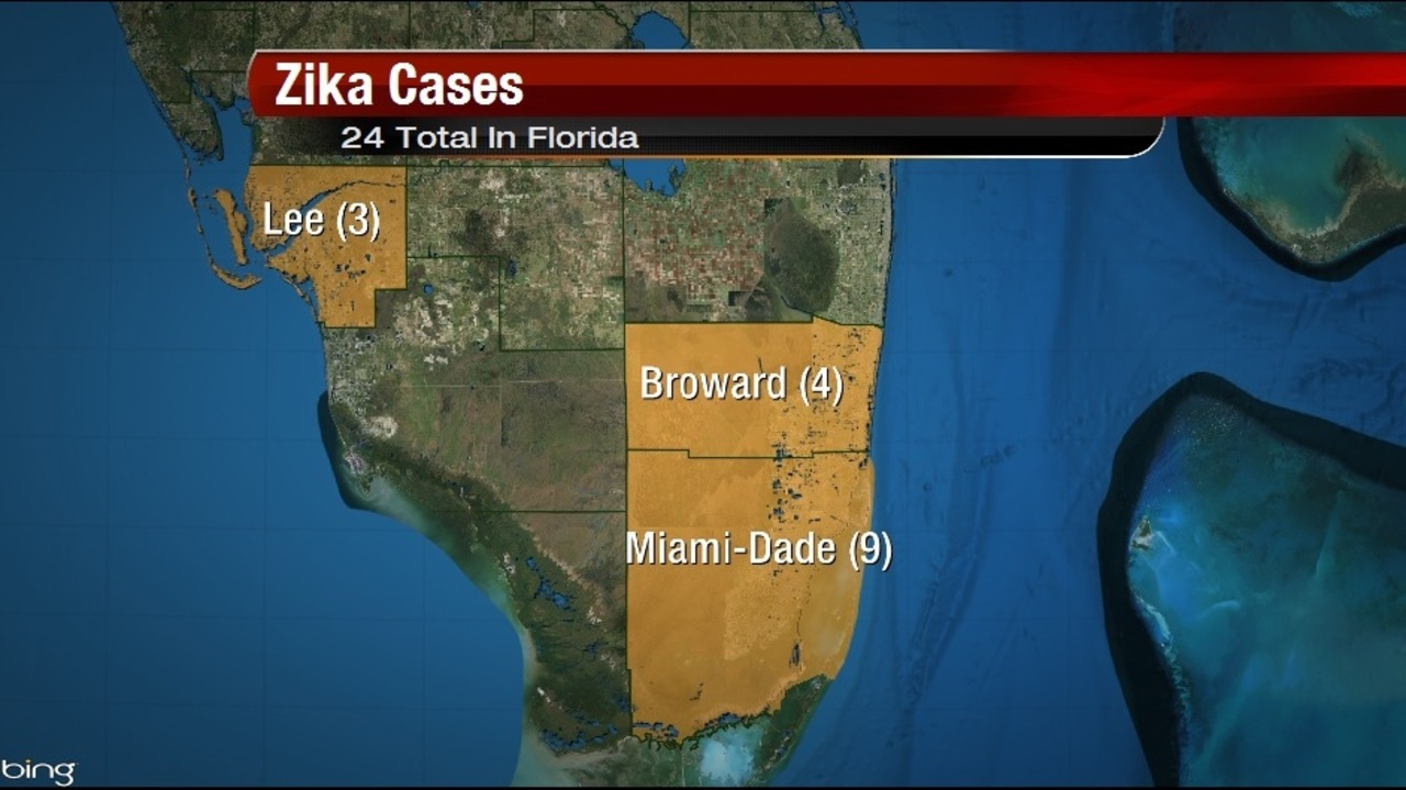 More Zika Virus Cases Reported In MiamiDade County - Map of florida counties with zika
