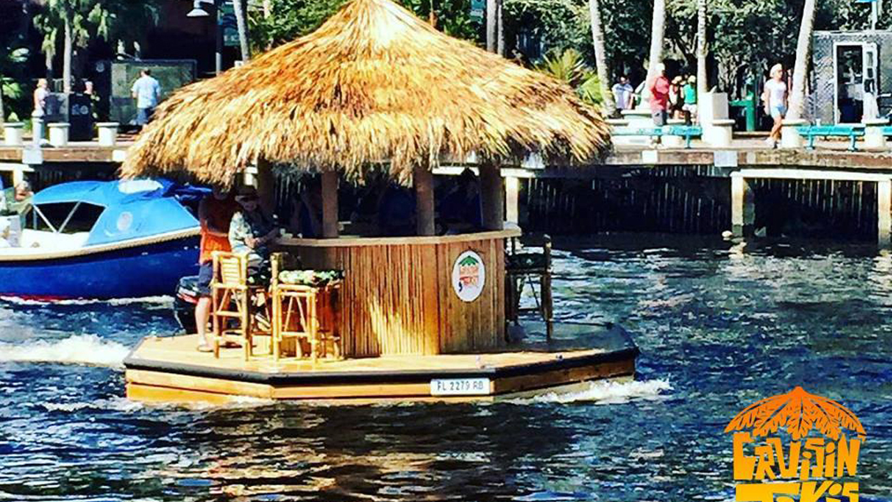 Amazing tiki boat seen sailing along s fla waterways