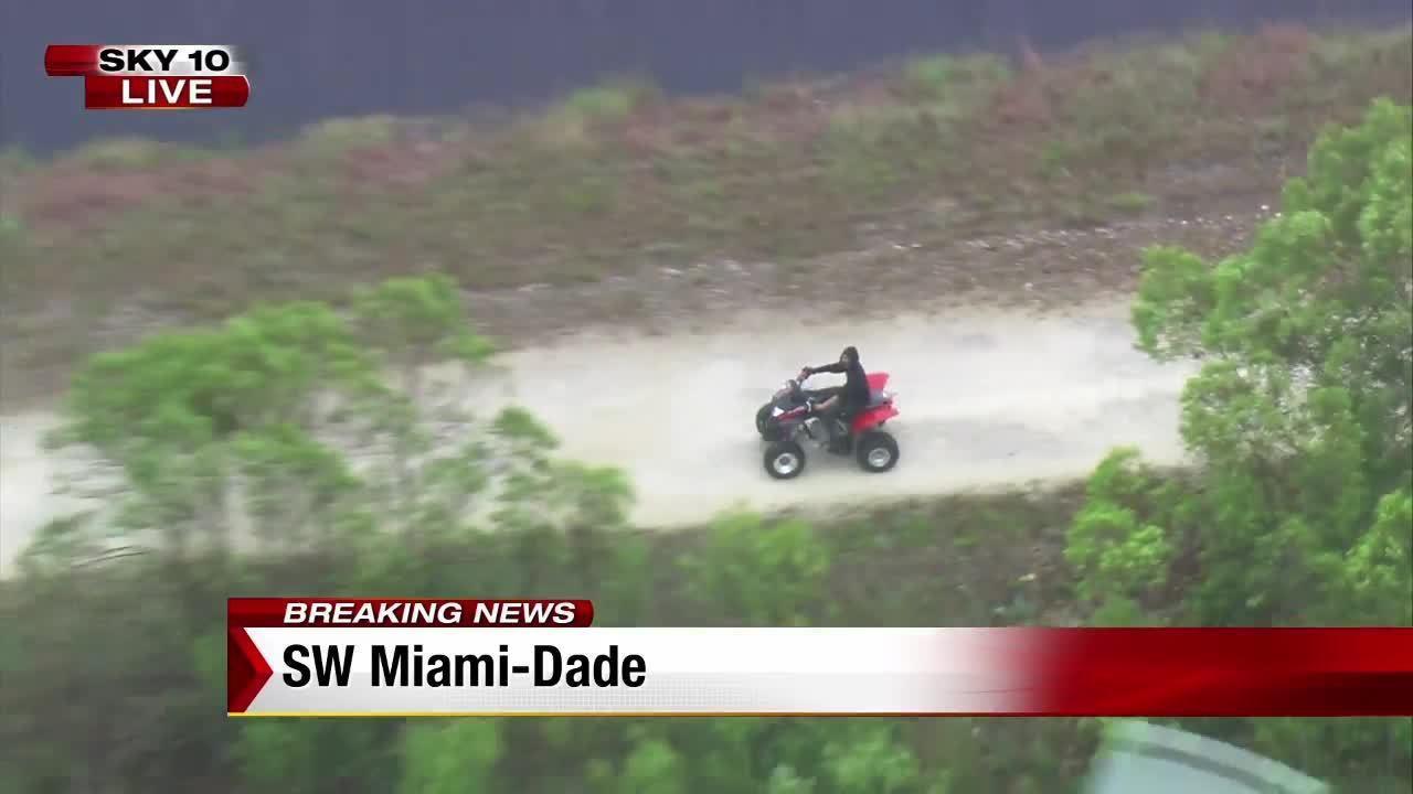 Miami-Dade Police helicopter pilot follows ATV closely