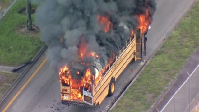 School bus catches fire in Opa-locka