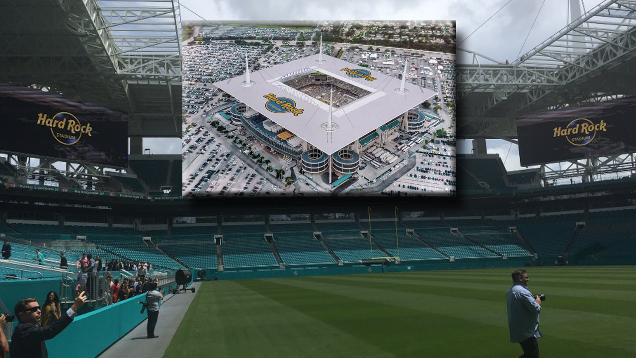 Dolphins Pitbull Introduce Public To Hard Rock Stadium