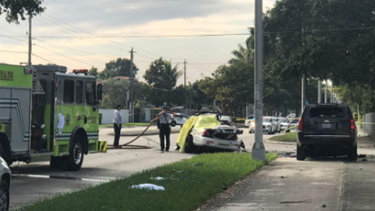 Driver of stolen police car dies in explosive Coral Way crash