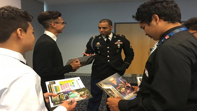 Staff Sgt. John Garcia speaks to students at LOFT STEM Leadership Symposium