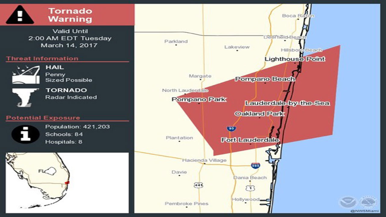 tornado warning brings heavy winds hail to broward county