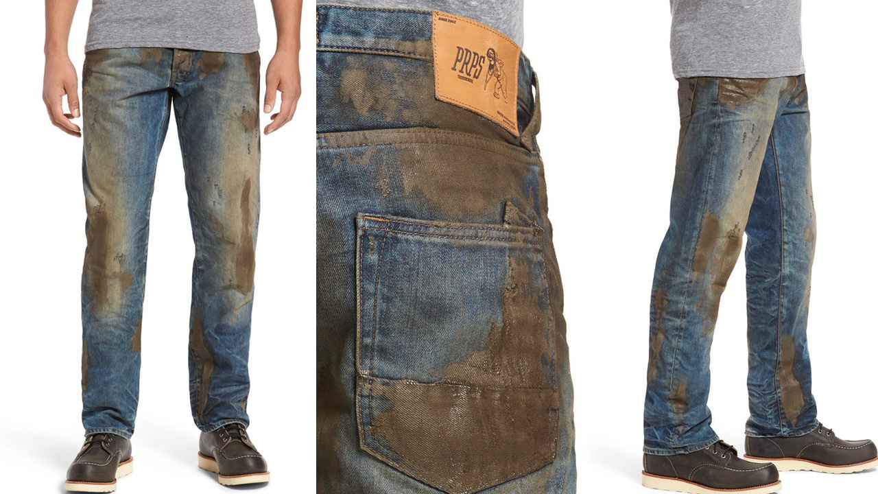 Картинки по запросу Nordstrom selling fake muddy jeans for $425