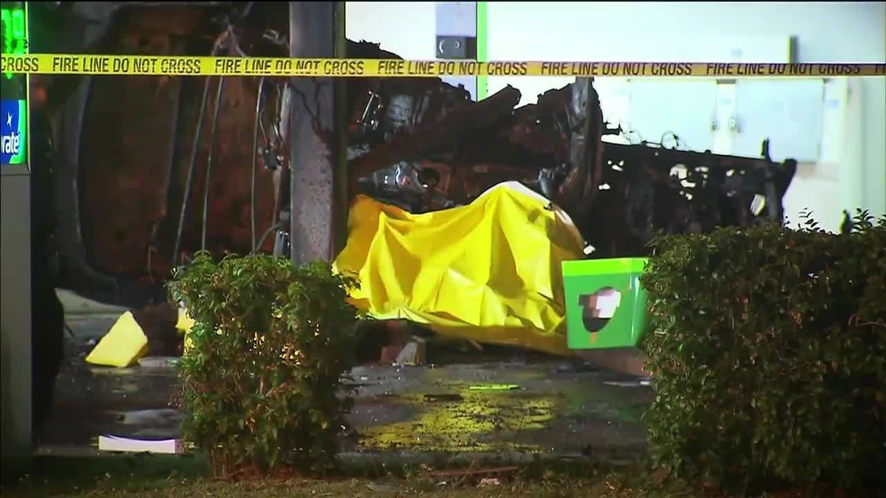 Man Crashes Car Catches Fire