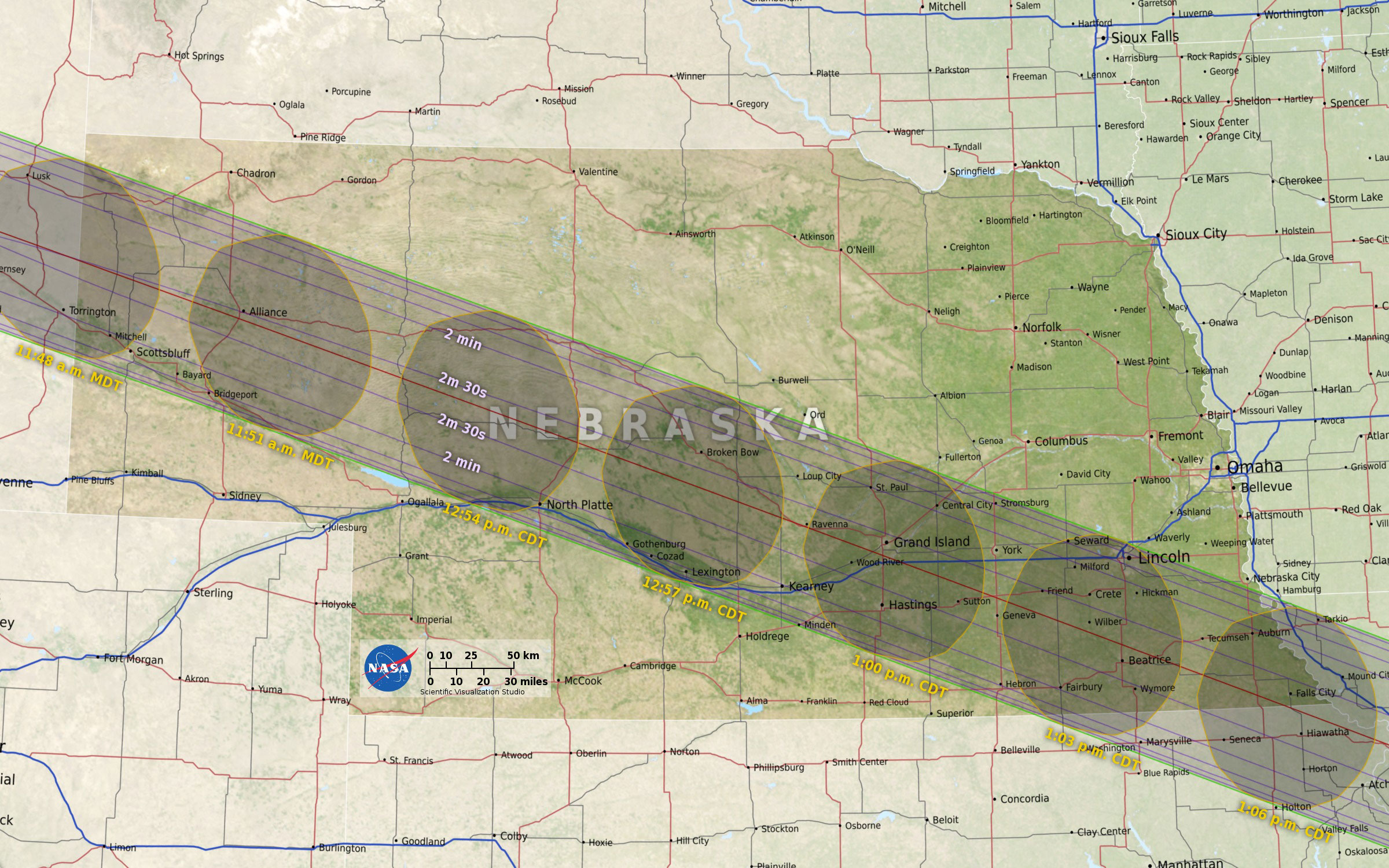 Here is where observers will see the total solar eclipse