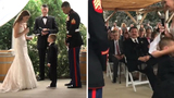 Little boy cries, hugs stepmom while exchanging vows