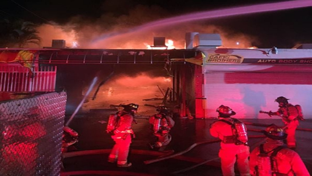 Fire Erupts At Caffi Brothers Auto Body Shop In Hollywood