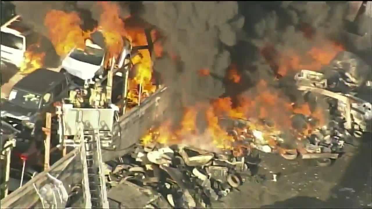 Opa Locka Junkyard >> Several vehicles burn in Opa-locka junkyard fire
