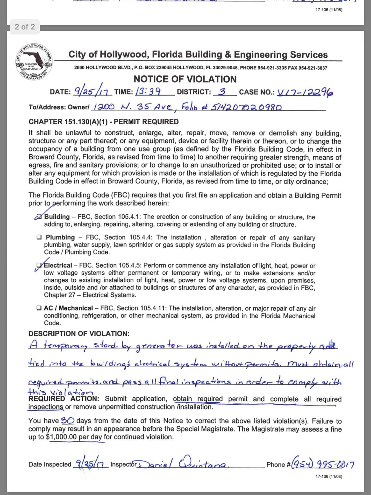 Unpermitted cooling tower among violations found at Hollywood...