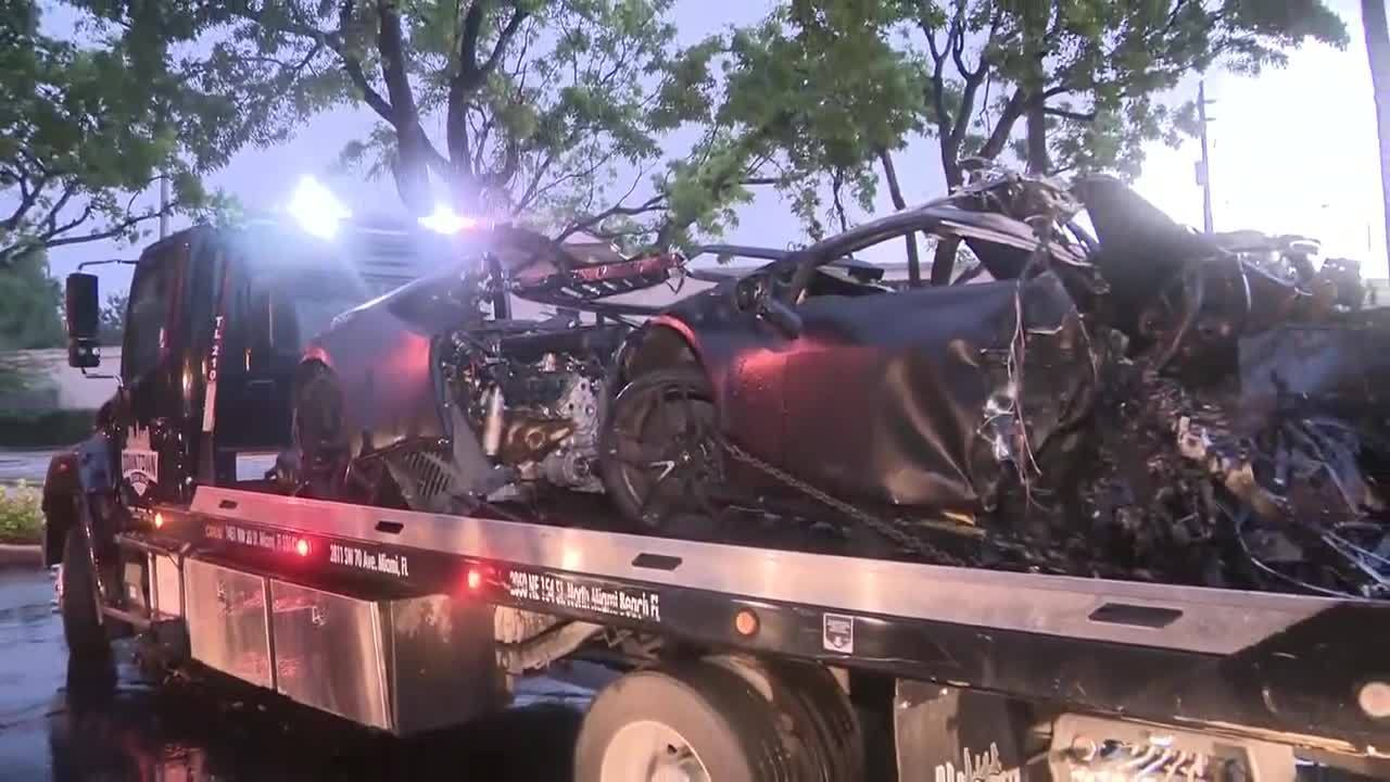 Lamborghini Splits In Half After Fiery Crash In North Miami Beach