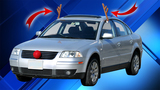 Holiday car reindeer antlers ruin gas mileage