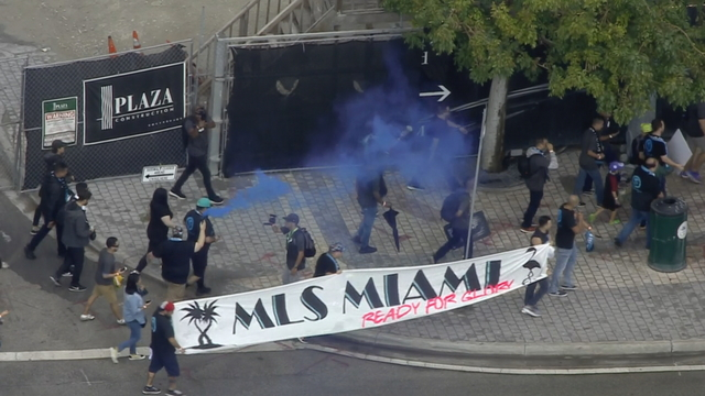 Sky 10 over MLS supporters march