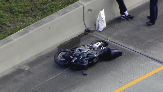 Crashed motorcycle on I-595