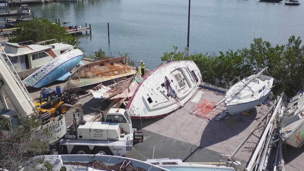 Cleanup underway for 'boat graveyard' caused by Hurricane Irma