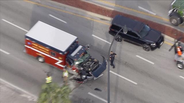 Sky 10 over crash involving North Lauderdale firetruck