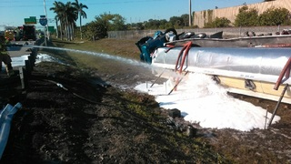 Gas tanker crash on I-95 blocks lanes, affects Tri-Rail