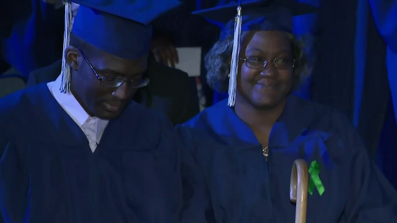 218d6568b48 Video thumbnail for Mother and son graduate together from Broward College