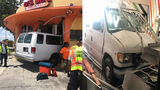 Van carrying children crashes into restaurant in North Miami