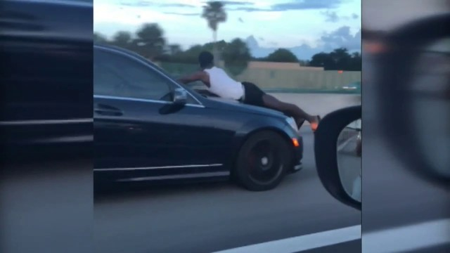 Video Thumbnail For Driver Records Man Riding On Hood Of Car Down I 95 In