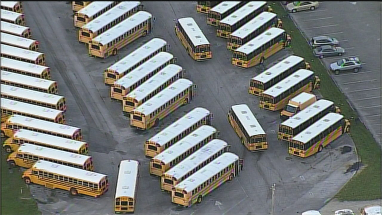 Broward County school buses prepare to shuttle students back