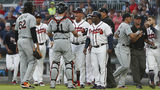 Braves, Marlins brawl after Acuna hit by Urena's first pitch