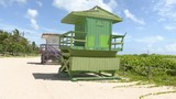 Old lifeguard stands up for auction in Miami Beach