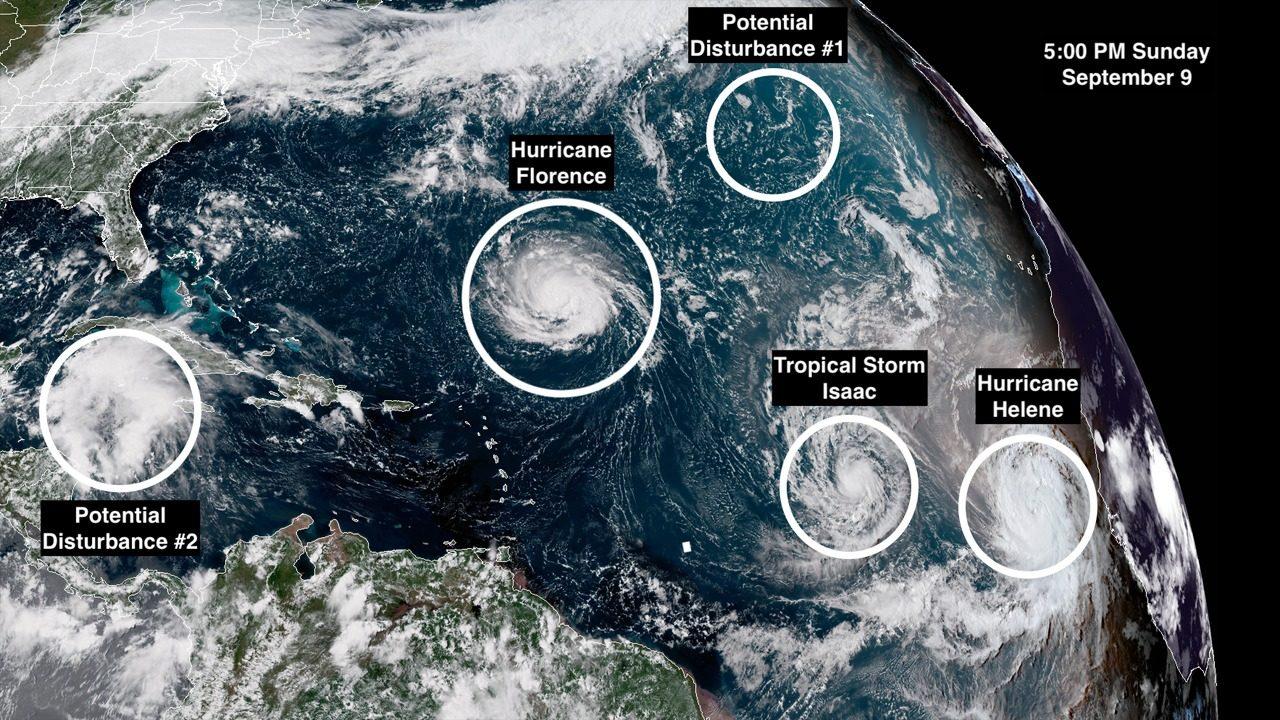 Strengthening Hurricane Florence Barrels Toward Mid