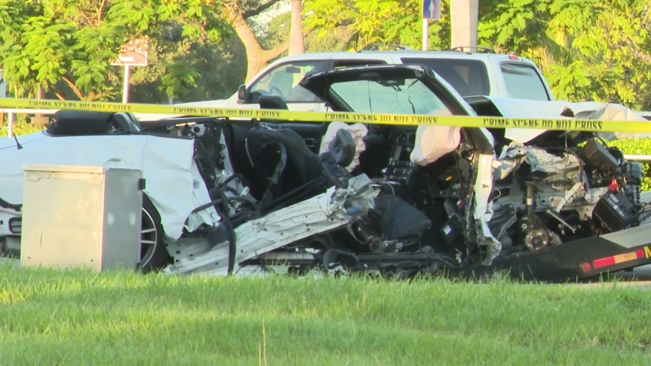 Ford Mustang nearly split in half in crash that killed 1,