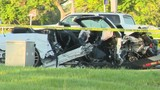 Ford Mustang nearly split in half in crash that killed 1, injured another