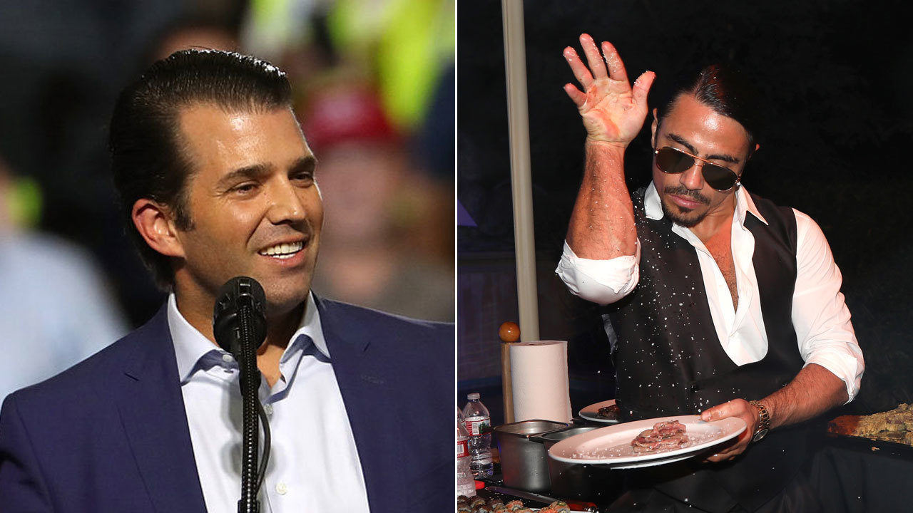 Salt Bae serves Donald Trump Jr. at New York steakhouse