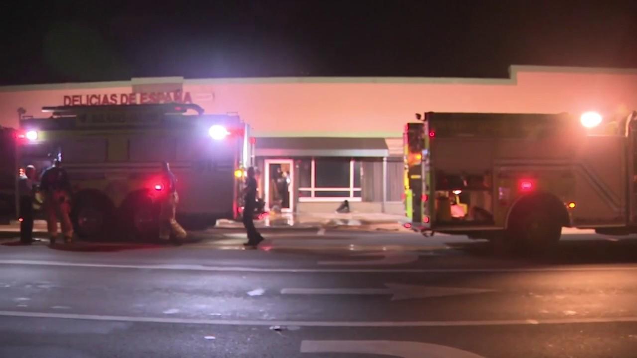 Firefighter injured battling flames at Delicias de Espana bakery
